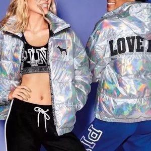 PINK vs fashion show puffer bomber metallic coat